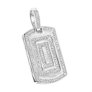 Small Diamond Dog Tag Pendant & 18 Inch Chain in 10K Gold Mens Necklace 0.4ctw by Luxurman