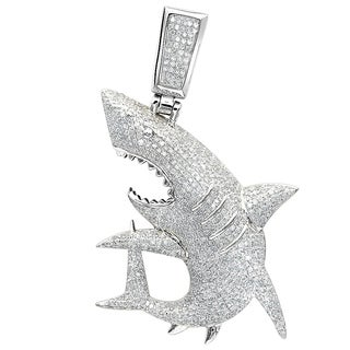 Fully Paved Diamond Shark Pendant for Men 1.5ctw & 18 Inch Chain Luxurman 10K Gold Necklace