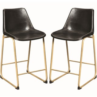 Antique Brass Black Leather Upholstered Counter Height Dining Stools (Set of 2)