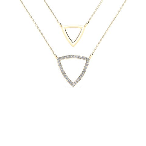 AALILLY 10k Yellow Gold Diamond Accent Double Strand Triangle Necklace (H-I, I1-I2)