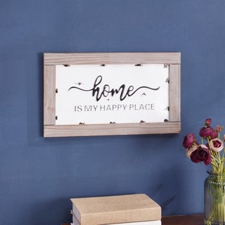 Danya B. Home is My Happy Place - Industrial Rustic Metal Hanging Wall Art with Quote in Wooden Frame