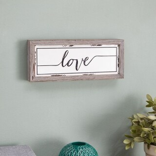 Danya B. Word Wall Décor - Love - Industrial Rustic Metal Art with Quote in Wooden Frame