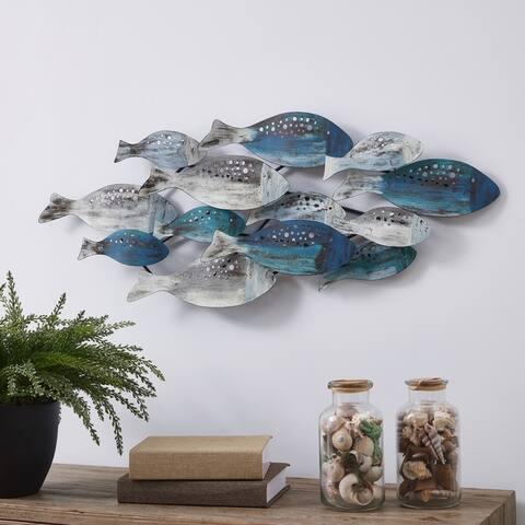 Danya B. School of Fish Modern Metal Wall Art - Perfect for Coastal, Nautical, Beach, or Boat Décor