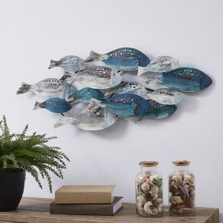 Danya B. School of Fish Modern Metal Wall Art - Perfect for Coastal, Nautical, Beach, or Boat Décor