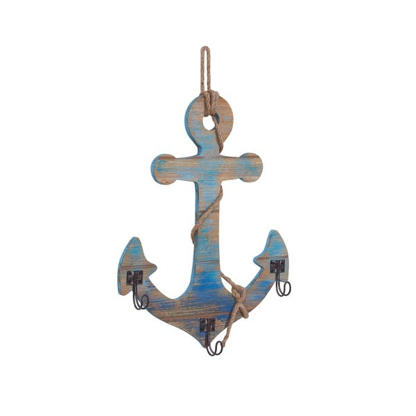 Danya B Decorative Wooden Wall Anchor With Rope And Hanging Hooks Nautical Beach Theme Home Decor Overstock 22250999
