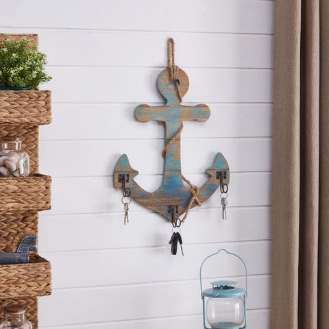 Danya B. Decorative Wooden Wall Anchor with Rope and Hanging Hooks - Nautical Beach Theme Home Decor