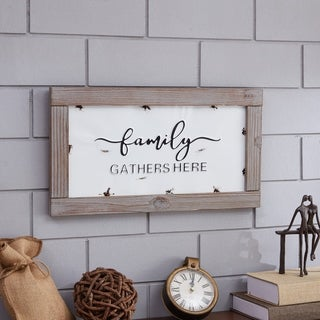 Danya B Family Gathers Here - Industrial Rustic Metal Wall Art with Quote in Wooden Frame