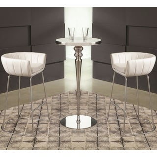Sleek Modern Design 3-piece White Bar Set with Tampered Glass Top