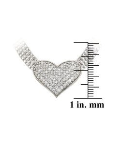 Thumbnail 3, Icz Stonez Sterling Silver CZ Heart Mesh Link Necklace. Changes active main hero.