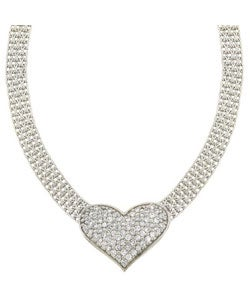 Icz Stonez Sterling Silver CZ Heart Mesh Link Necklace