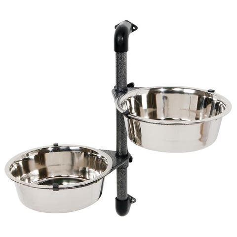 TRIXIE Dog Bowl with Wall-Mount Adjustable Stand
