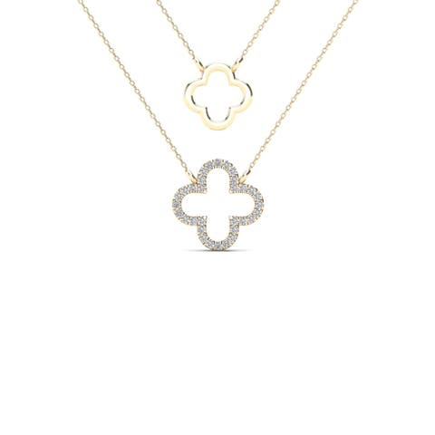 AALILLY 10k Yellow Gold Diamond Accent Two Clover Double Strand Necklace (H-I, I1-I2)