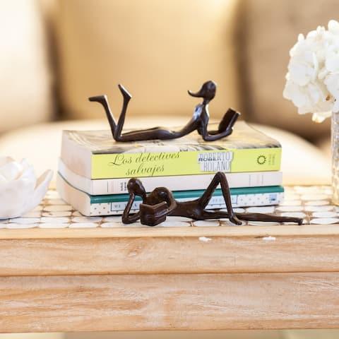 Danya B. Man and Woman Leisurely Reading a Book Bronze Sculptures - (2 piece set)