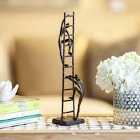 Danya B.  Two Figures Climbing a Ladder Bronze Sculpture - Contemporary Metal Art Shelf and Desk Decor