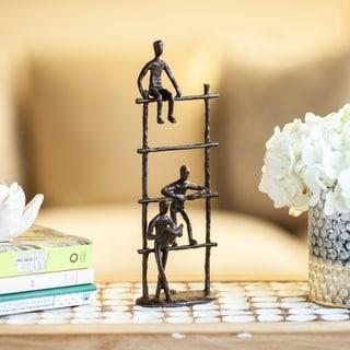 Danya B.   Three Children on a Ladder Bronze Sculpture - Modern Metal Art Home Decor