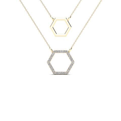 AALILLY 10k Yellow Gold Diamond Accent Double Strand Hexagon Necklace (H-I, I1-I2)