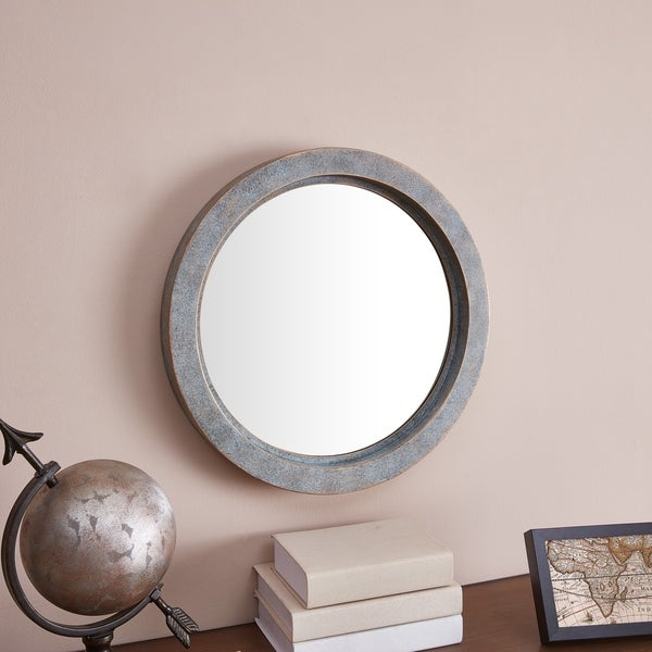 Danya B. Modern Industrial Floating Round 20-Inch Wall Mirror with Antiqued Copper Metal Frame - Green/Gold - A/N