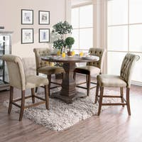Furniture of America Minah Rustic Antique Oak Counter Height Dining Table