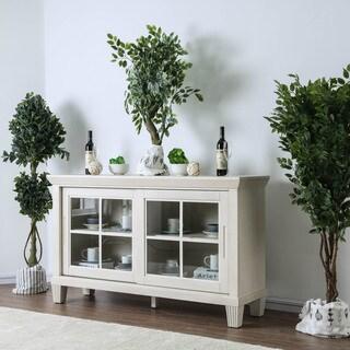 Furniture of America Torrey Antique White Fluted Windowpane Buffet