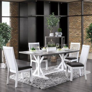 Link to Furniture of America Lell Farmhouse White 5-piece Dining Set Similar Items in Dining Room & Bar Furniture