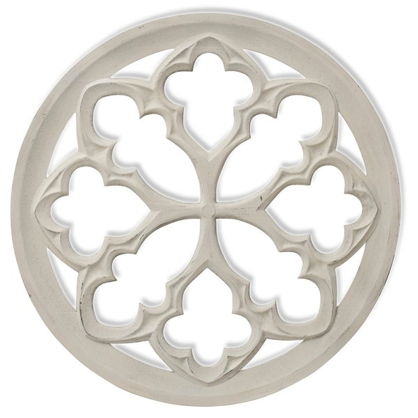 Shop Traditional Tuscan White Wood Medallion Wall Art - On ...