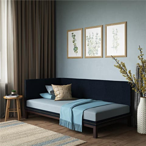 DHP Mid-Century Upholstered Daybed in Blue Linen