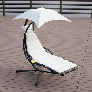Outsunny Hanging Chaise Lounger Chair with Canopy and Stand - Black / Cream White