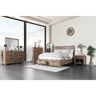 Furniture of America Delton Rustic 2-piece Light Oak Dresser and Mirror Set
