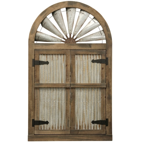 Arched Wood and Iron Door-style Farmhouse Wall Decor