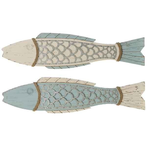 Couple Fish Light Blue and White Wood Wall Decor (Set of 2)