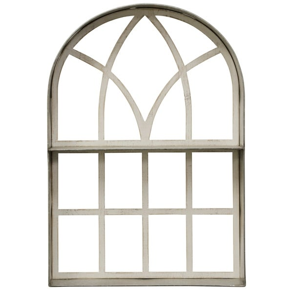 Whitewashed Wood Frame Metal Arched Wall Decor