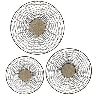 Round Metal and Wood Wall Décor (Set of 3)
