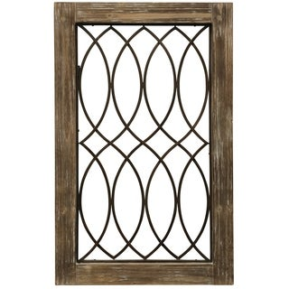 Wood-Framed Metal Grate II Wall Décor