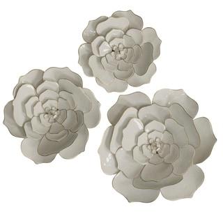 3-piece Floral White Iron Wall Art Set