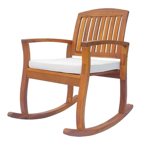 Outsunny Acacia Wood Outdoor Rocking Chair with Cushioned Seat