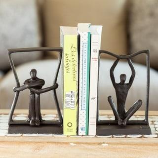 Danya B. Stretching Boundaries Iron Bookend Set - Decorative Modern Metal Sculpture Bookends