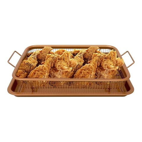 Oven Mesh Baking Tray With Basket Durable Titanium Construction