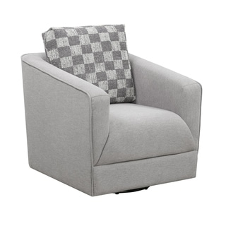 Porch & Den Banton Pewter and Charcoal Swivel Accent Chair