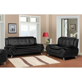 Arul Tufted Modern Club Sofa Loveseat 2PC Set