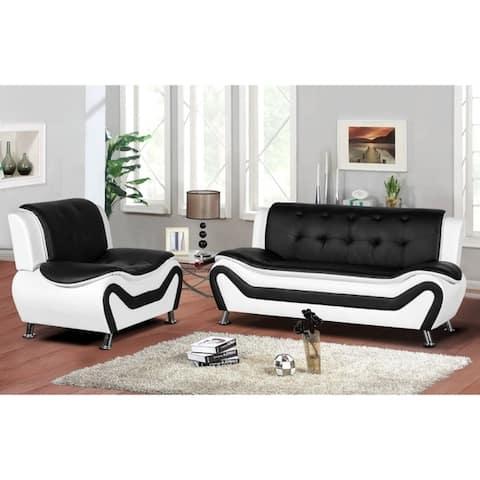 Arul Tufted Modern Club Sofa Chair Set