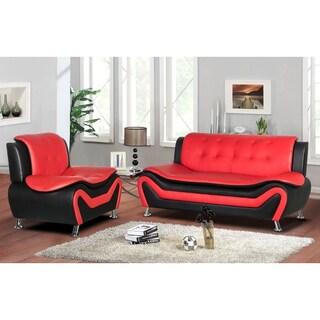 Arul Tufted Modern Club Sofa Chair Set (Option: Red)