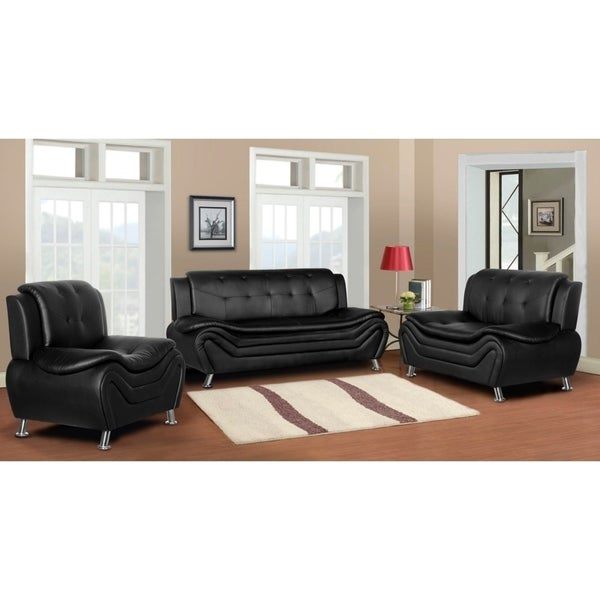 Arul Tufted Modern Club 3PC Sofa Set