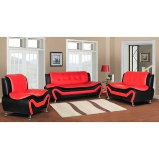 Arul Tufted Modern Club 3PC Sofa Set (Option: Red)