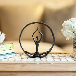 Danya B. Circle Iron Sculpture with Figurine in Yoga Pose - Namaste Spiritual Home Décor Iron Sculpture