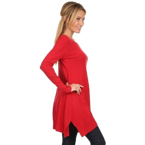 High Secret Women's Solid Cashmere Loose Fit Tunic Top