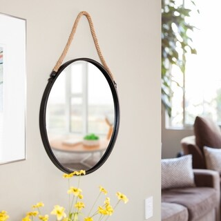 "Danya B. Framed 20"" Decorative Round Black Metal Circle Wall Mirror with Hanging Rope"