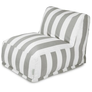Majestic Home Goods Vertical Stripe Gray Bean Bag Lounger Chair