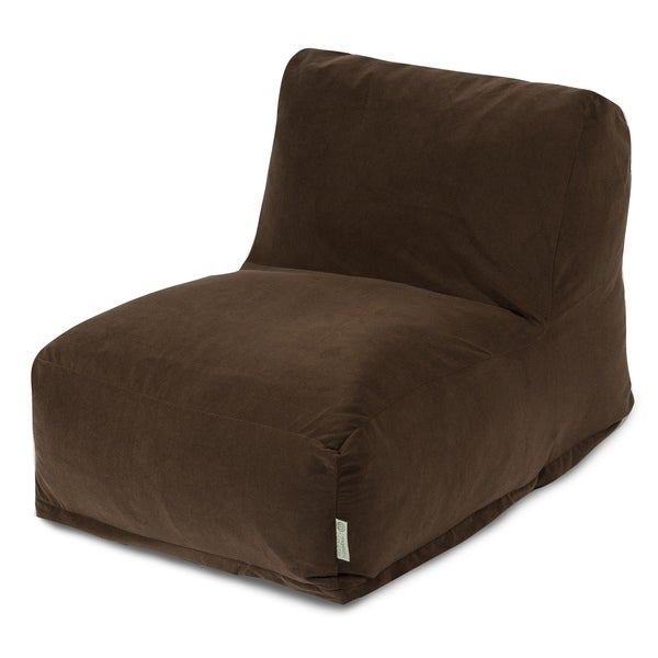 Majestic Home Goods Chocolate Velvet Bean Bag Lounger Chair