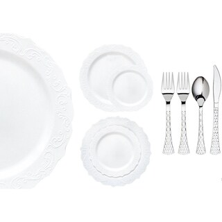 Royalty Settings Elegant Collection Plastic Cutlery and Premium Plastic Plates for Weddings, Clear, 20, 40, 80, or 120 Settings