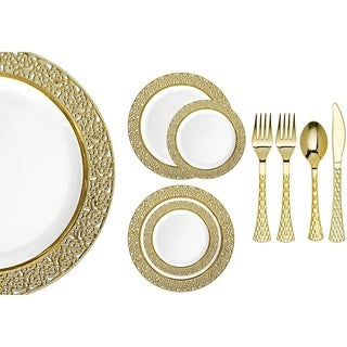 Royalty Settings Inspiration Collection Plastic Cutlery and Plastic Plates for Weddings, White/Gold, 20, 40, 80, or 120 Settings